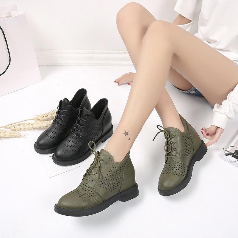 马丁春季女短靴低百搭圆头系带英伦皮鞋增高