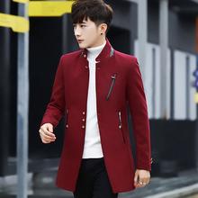 2017新款冬季立领风衣男短款加厚韩版毛呢外套男修身呢子大衣潮流