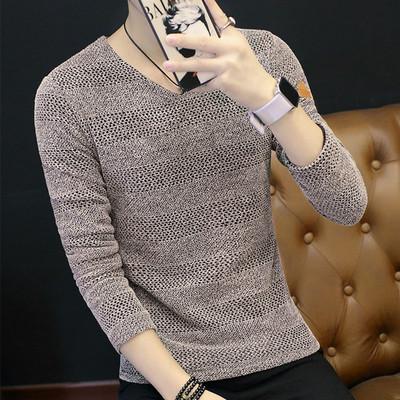 秋装男士长袖t恤V领打底衫2017新款潮流体恤上衣服韩版小衫男装薄