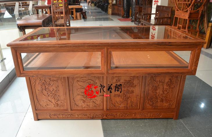 红木花梨木珠宝柜台玉器展示柜陈列柜 玻璃饰品柜看宝台实木中式