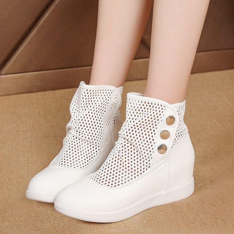 2017夏季新款时尚靴子女鞋侧拉链布透气镂空马丁靴中跟欧美短筒