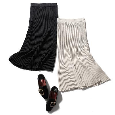 ^@^戎美【QZ0821402】提升时髦 四平羊毛羊绒 风琴褶针织半裙