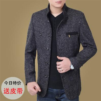 冬季加厚毛呢夹克男中年男士外套短款修身羊毛呢子爸爸40-50岁土