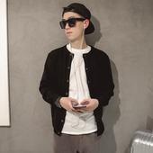 春季青少年学院风薄毛衣 韩版修身男士针织衫 潮男圆领时尚开衫