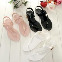 沙滩夹脚凉鞋 休闲平跟防滑水晶塑料女鞋 夏季女士夹趾平底果冻凉鞋