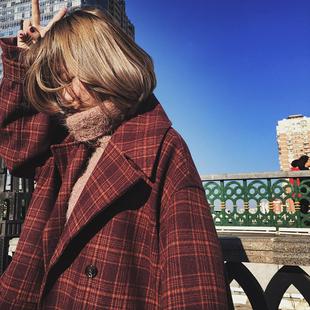 2017新款毛呢大衣女宽松韩版学生过膝中长款修身格纹茧型毛呢外套