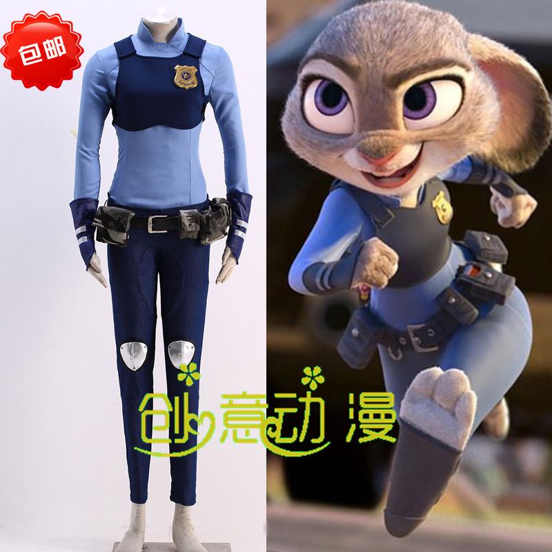 疯狂动物城cosplay服装儿童动漫女警judy兔子朱迪拟人服cos服全套