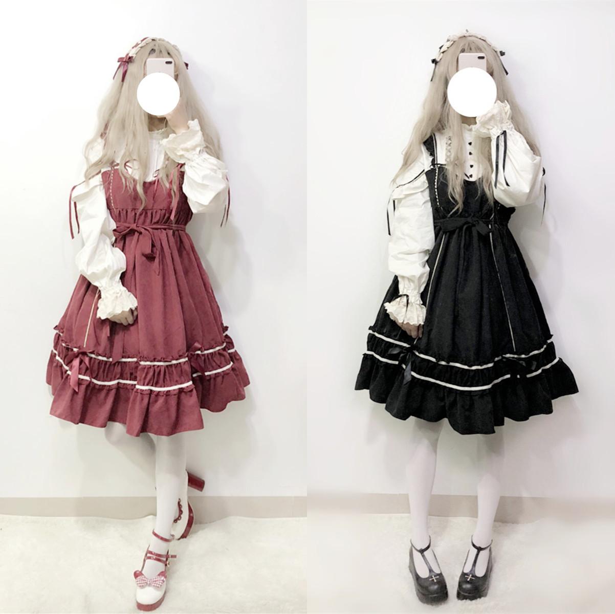 秋冬季宫廷风日系少女软妹洛丽塔op连衣裙lolita公主洋装日常礼服