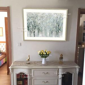 美式客厅沙发墙书房卧室挂画进口大幅装饰画芯 抽象画《冰川林》