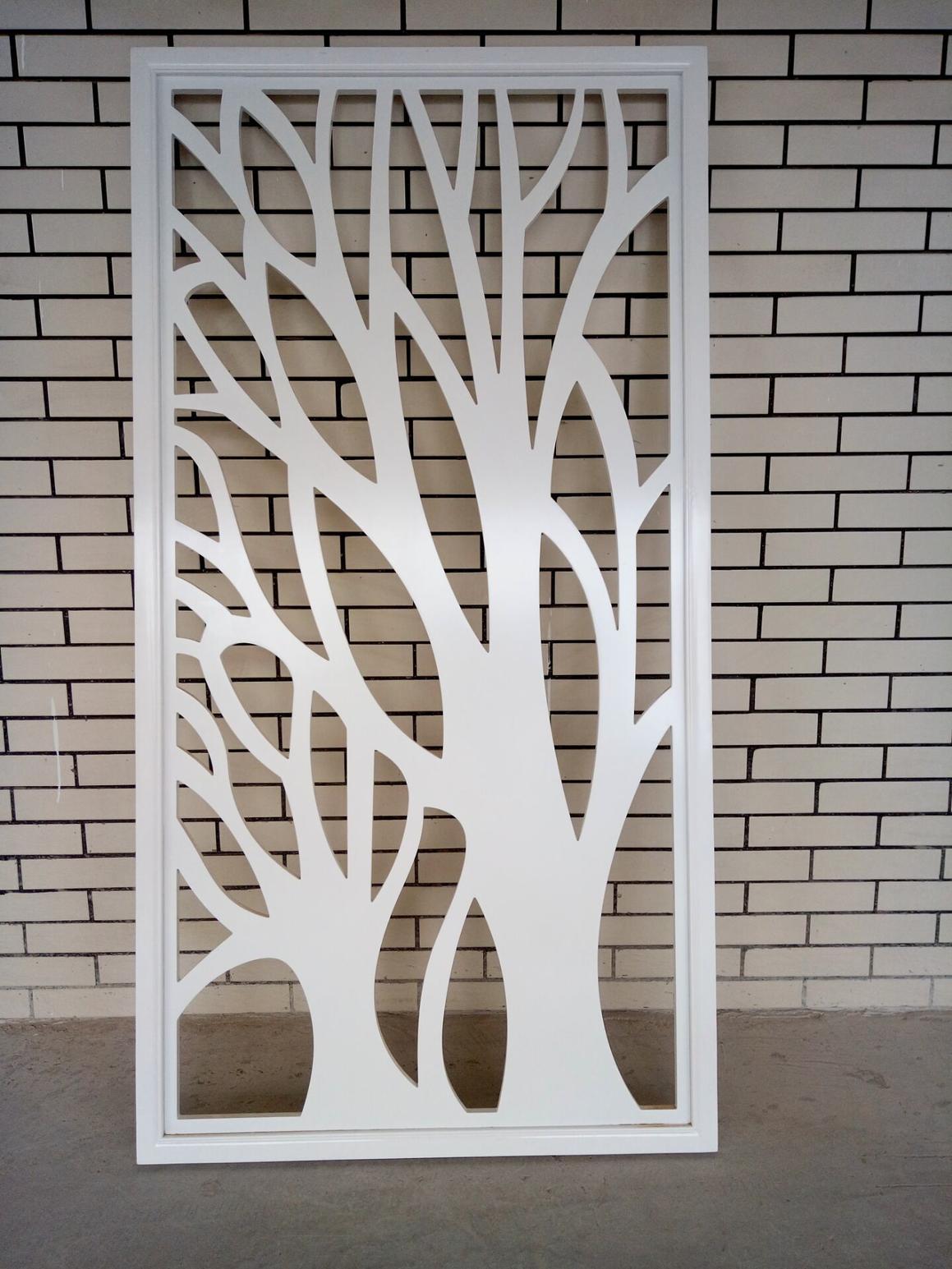 发财树镂空雕花板隔断玄关屏风橡木指接板密度板PVC鞋柜隔断定制