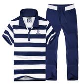 纯棉休闲两件套跑步服 长裤 男士 中老年运动服薄款 夏季短袖 运动套装