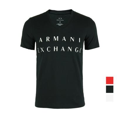 美国直邮Armani Exchange/阿玛尼AX男V领纯棉字母修身短袖T恤SLIM