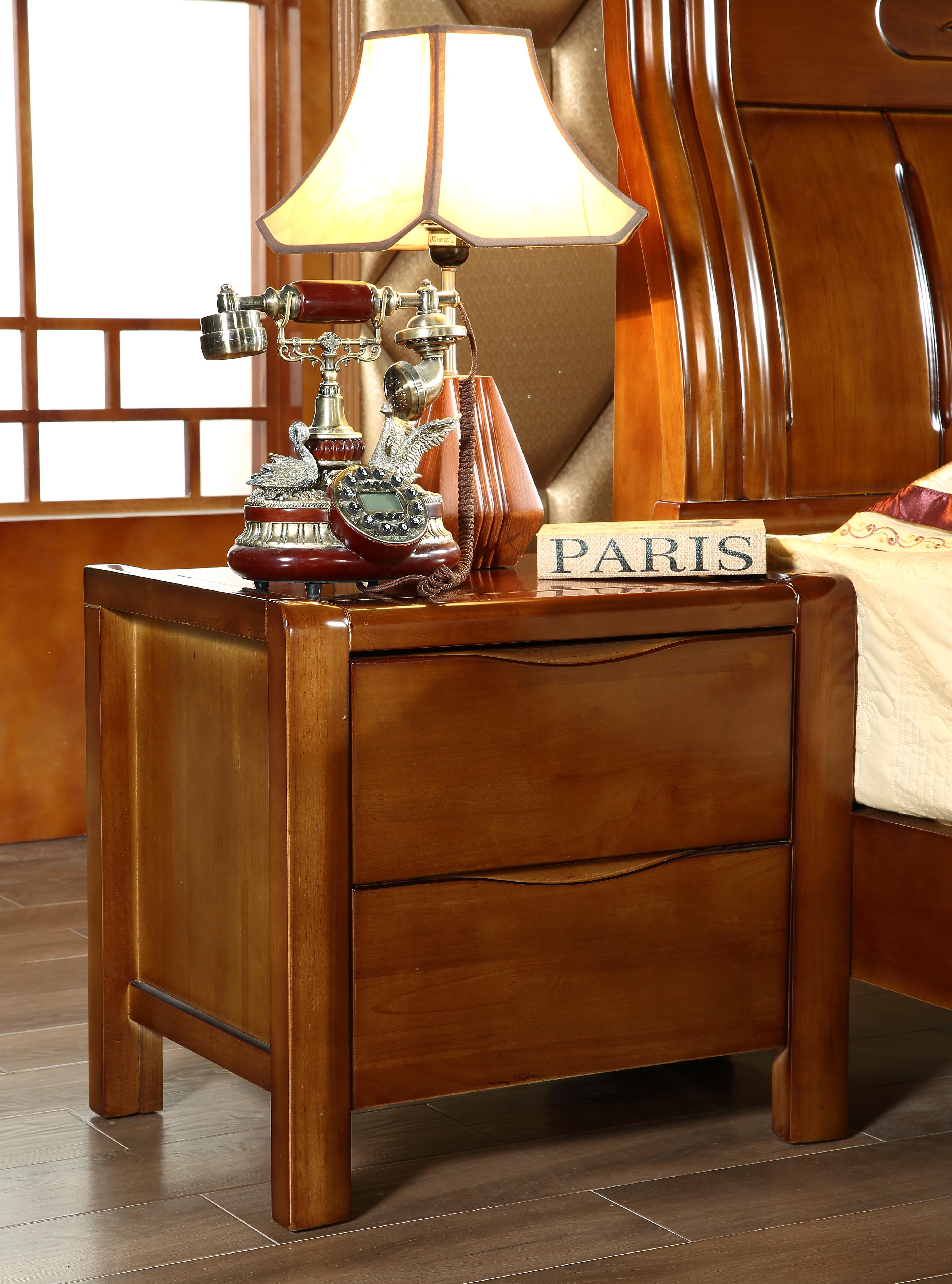 纯实木床头柜 环保简约储物柜带抽屉柜卧室家具橡木