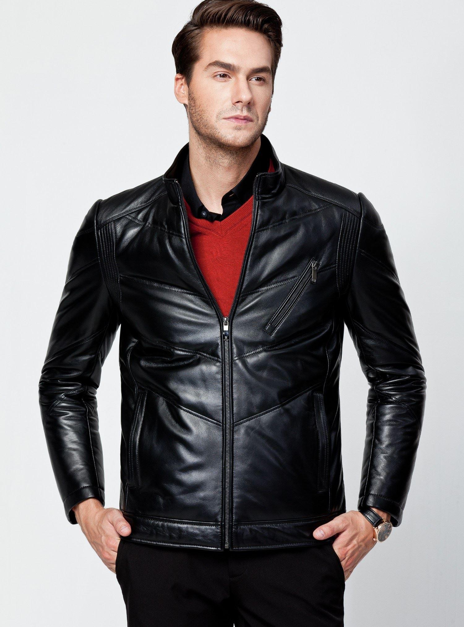 蒙蒂埃莫品位雅致绵羊皮革常规版男士羽绒皮衣