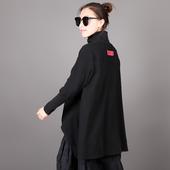 17新百搭纯棉女套头高领不规则个性外穿衫宽松大码复古时尚风T恤