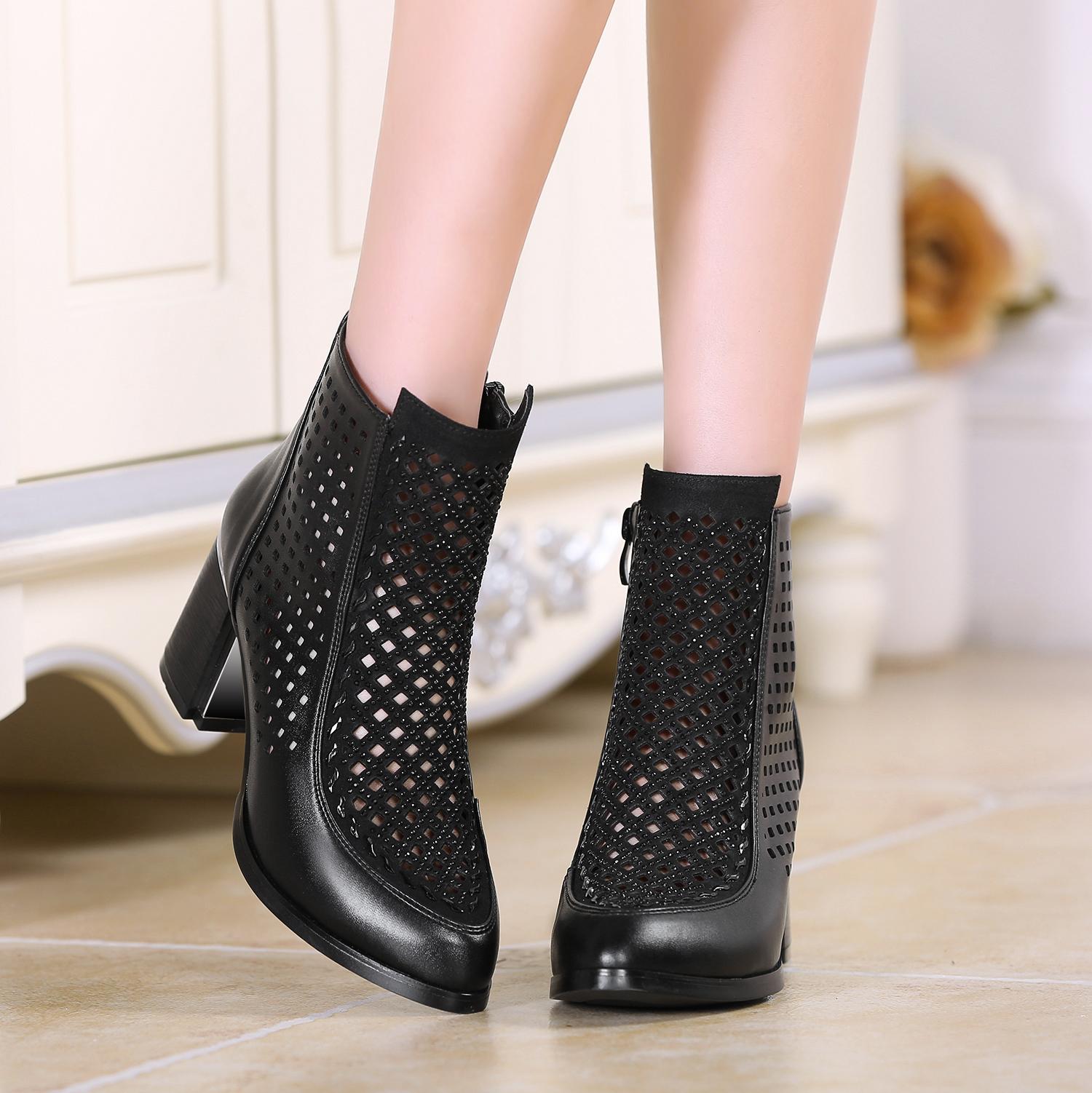春秋中跟尖頭女鞋涼靴粗真皮鏤空春季