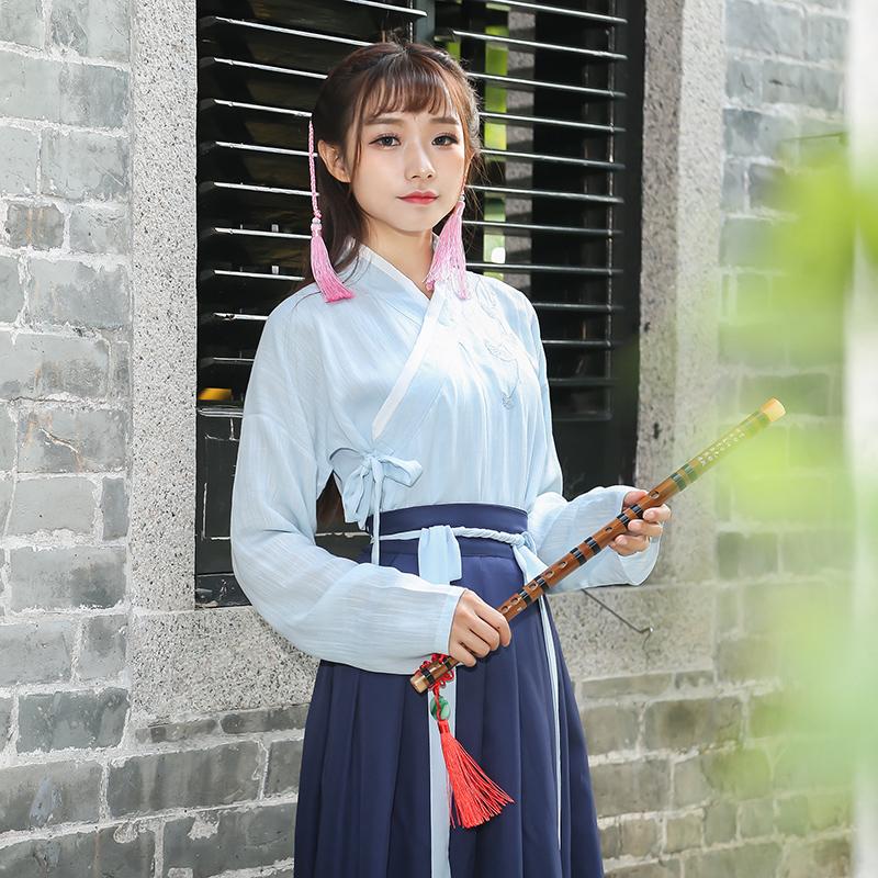原创复古中国风传统汉服女装交领刺绣襦裙两件套