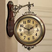 美式实木金属双面挂钟静音欧式客厅两面挂表创意墙钟石英钟表大号