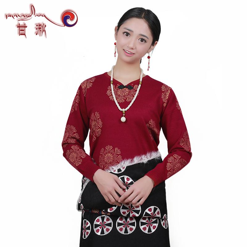 冬季新款毛衣女藏装民族风藏袍搭配加厚针织衫唐装外套大码宽松型