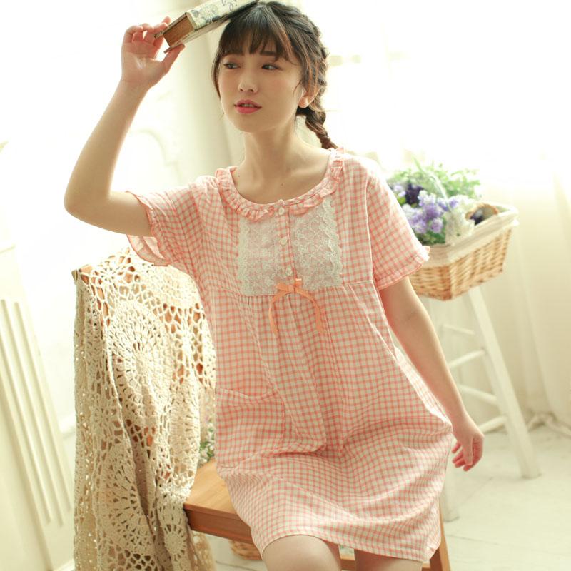 日系夏季女士纯棉双层纱布短袖睡裙 居家裙女夏 宽松家居裙 中裙