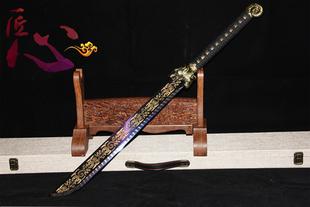 龙泉一体手工刀剑锰钢防身车载镇宅唐汉短太极宝剑虎头系列未开刃