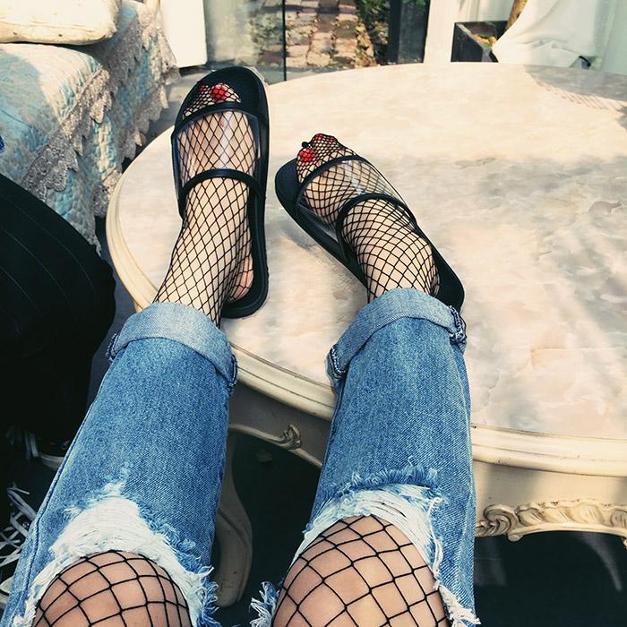 韩国个性沙滩一字带女鞋透明厚底松糕拖鞋