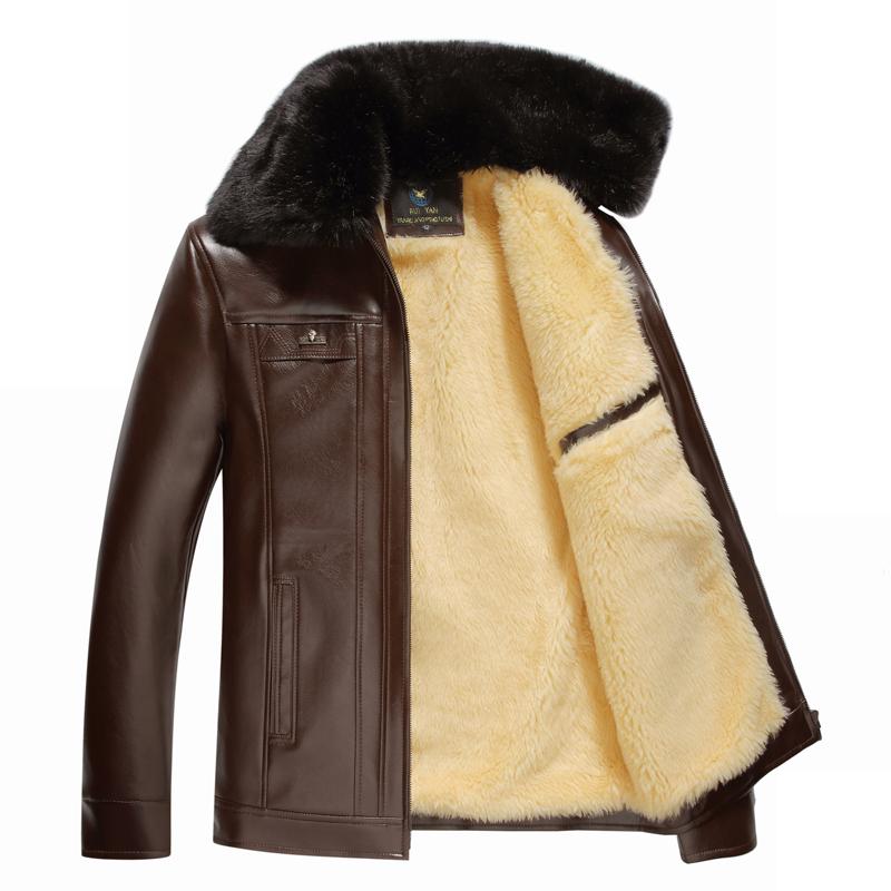 秋冬中老年商务pu皮衣男加绒加厚中长款男士拉链休闲款爸爸装外套