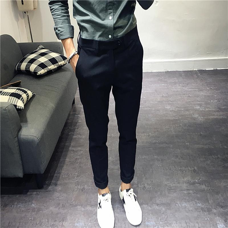 韩版修身小直筒休闲长裤 基本款百搭男西裤 英伦复古弹力长裤男潮