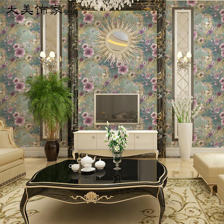 大美饰家现代美式风格紫色花纯纸壁纸 客厅卧室餐厅床头背景墙纸
