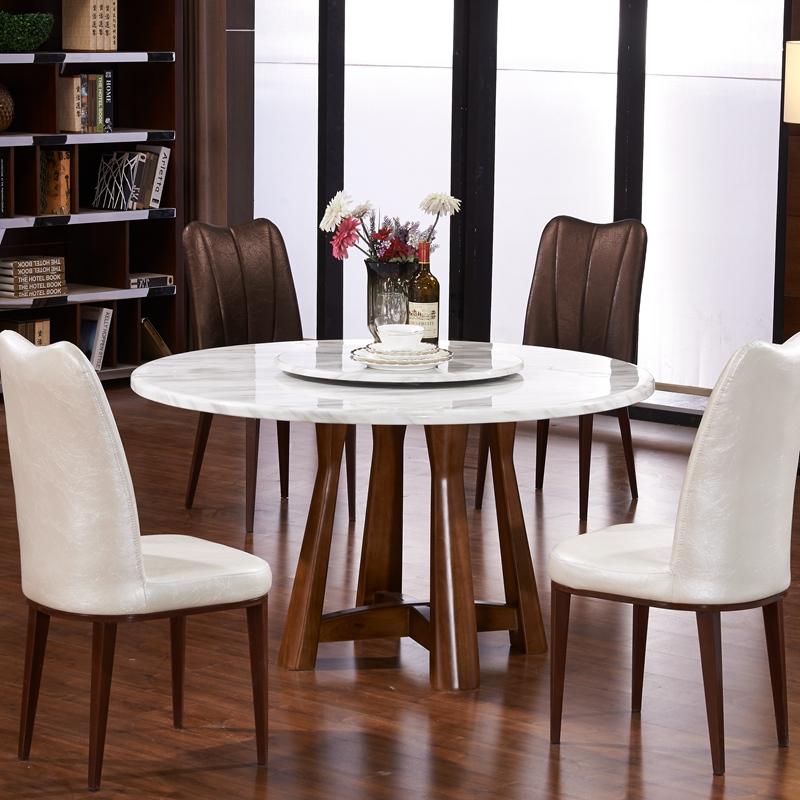 大理石餐桌椅组合北欧橡木圆餐桌简约现代小户型实木