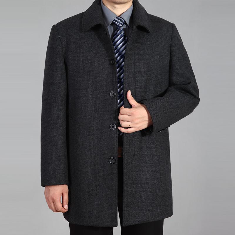 春秋中老年男装毛呢大衣男士中长款爸爸装呢子外套大码加厚风衣