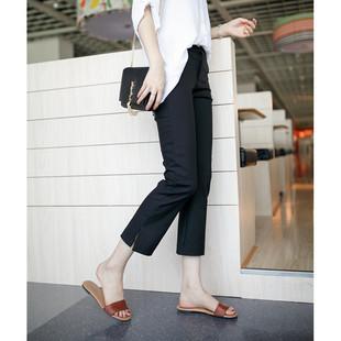 JHXC韩国高腰显瘦开叉微喇叭裤女夏季薄款九分裤黑色休闲裤西装裤