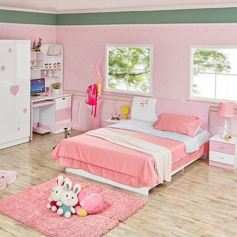 儿童床女孩公主床卧室家具套房组合女生单人床田园儿童小孩床1.2m