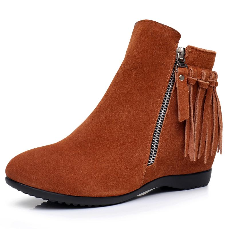 流苏磨砂坡跟鞋