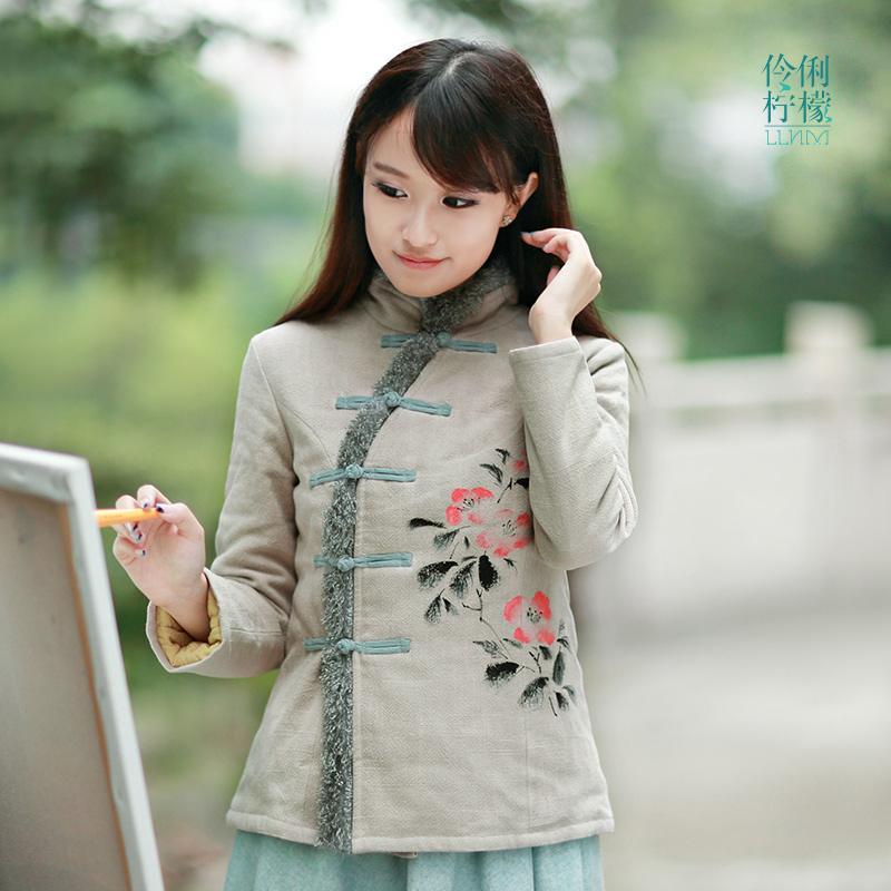 伶俐柠檬90209中国风手绘棉衣原创设计民族风棉麻女装文艺范现货