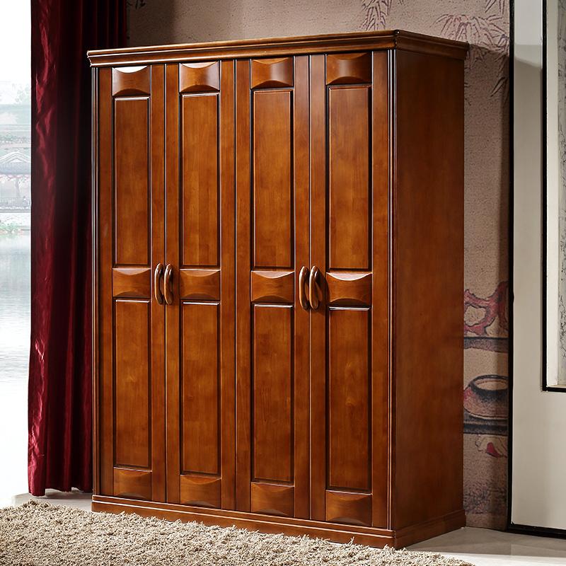 现代简约新中式全实木衣柜橡胶橡木拉门加顶组装3