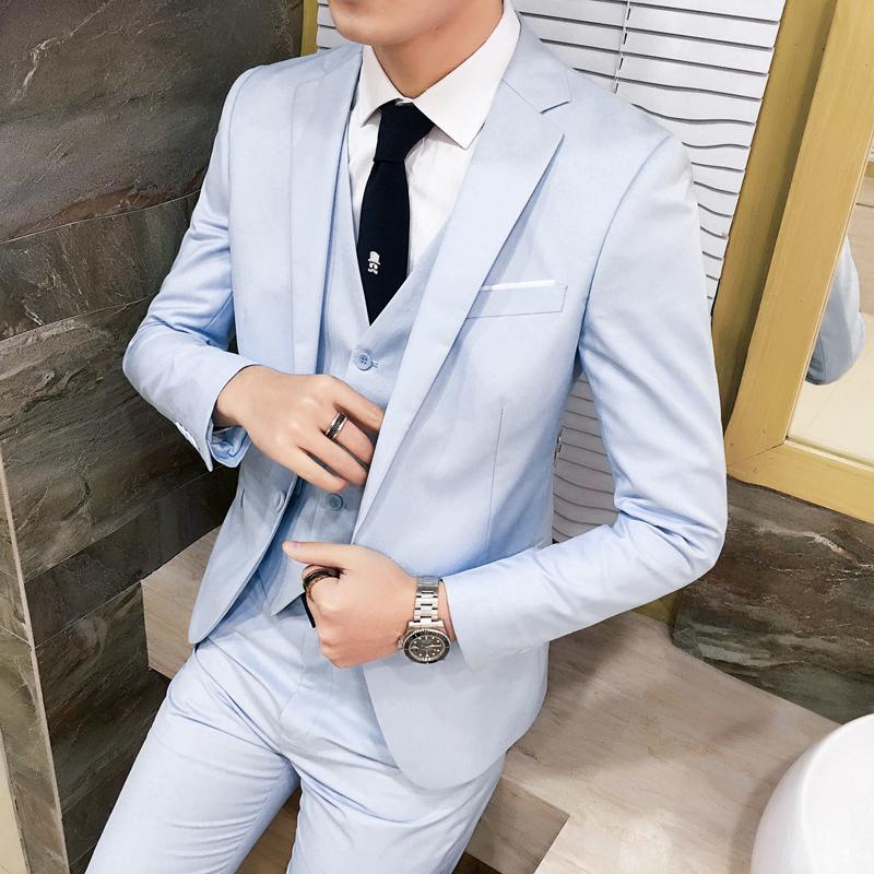 西装套装男韩版修身职业上班青年男士休闲西服三件套男装商务正装