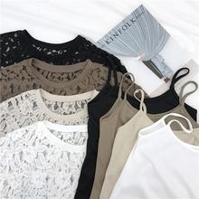 韩国复古港味chic宽松显瘦短袖蕾丝罩衫+吊带打底衫T恤两件套装女
