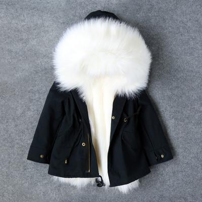 特价2017新款冬季童装儿童加厚棉衣男童女童大毛领皮草中长款外套
