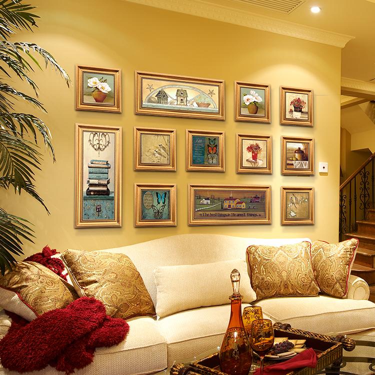 沙发背景墙画欧式餐厅现代简约挂画乡村创意组合画