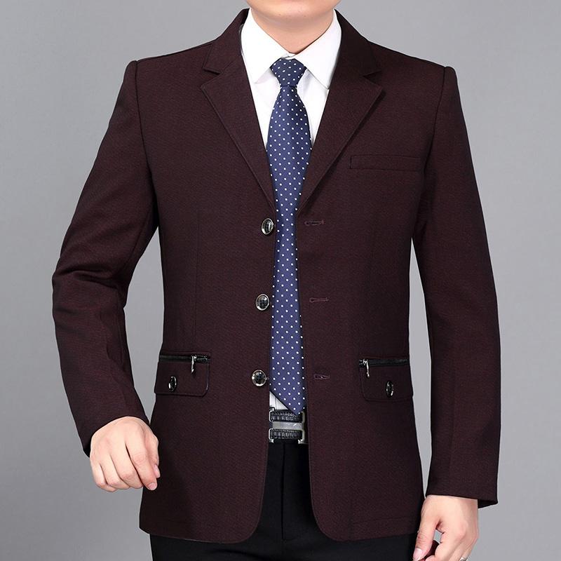 中年男士夹克时尚修身薄款外套休闲西服茄克衫春秋中老年爸爸男装