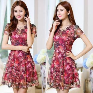 中年人女式妈妈装夏天连衣裙夏季40-50岁中长款显瘦短袖蕾丝裙子