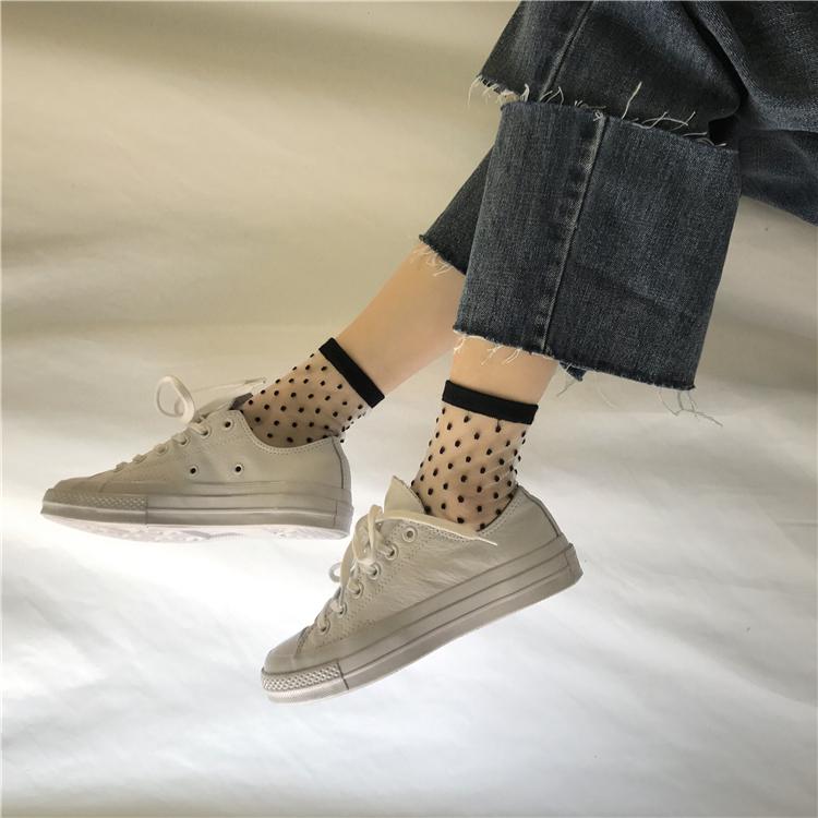 牛仔裤水晶袜子蚕丝短袜堆堆韩国透明可爱