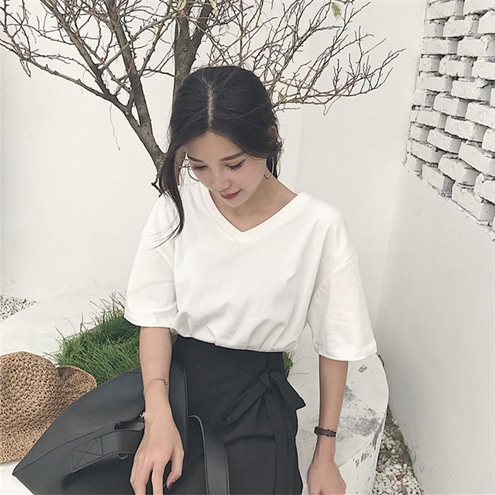 纯棉韩范百搭短袖复古宽松女装上衣清新纯白纯色
