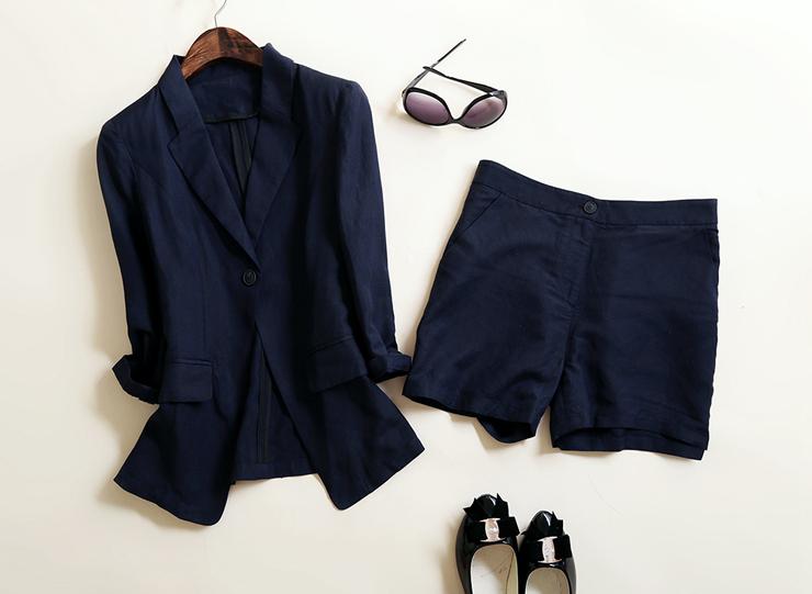 欢乐颂曲筱绡 赵薇同款西服外套女两件套 亚麻西装套装女短裤-福伦达