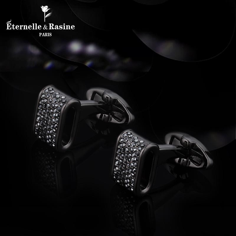 法式衬衫袖钉生日礼物 采用施华洛世奇元素水晶袖扣 Eternelle 法国