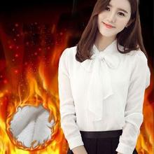 女蝴蝶结长袖 宽松衬衣上衣 加厚雪纺衫 白衬衫 秋冬打底加绒保暖大码