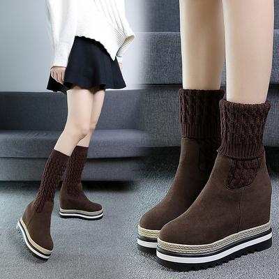 2017冬季内增高真磨砂皮女靴加绒毛线短靴平底中筒厚底马丁弹力靴