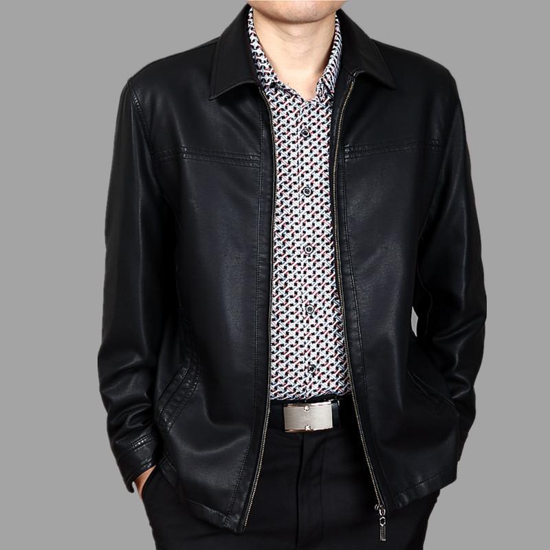 中年皮衣外套冬季加绒加厚男士皮夹克男式男装中老年爸爸装皮衣男