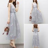 2017夏装新款女装韩版夏季无袖雪纺连衣裙子中长修身气质刺绣纱裙